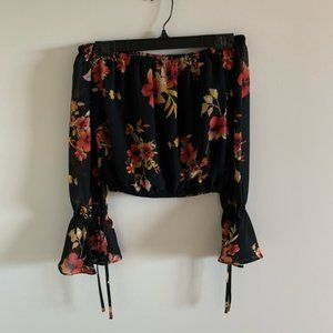 Guess Off The Shoulder Black Floral Ruffle Top